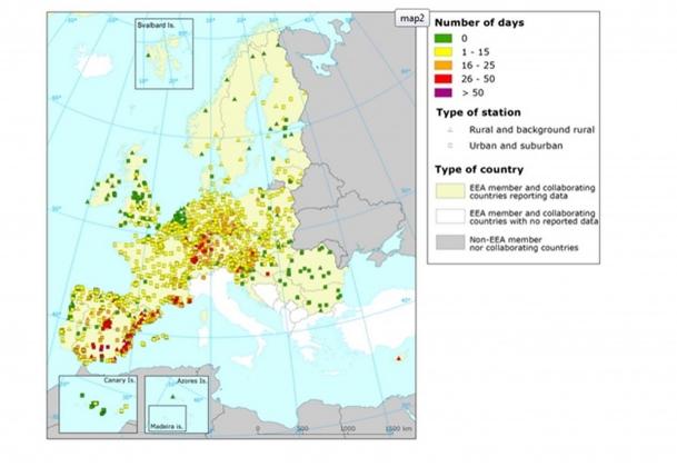Рис. 16. Станции мониторинга приземного озона ЕС, зафиксировавшие превышение допустимых концентраций озона в 2014 году
