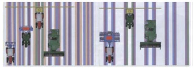 Рис. 25. Проезд техники, чья ширина колеи взаимно не согласована при стандартной тех-нологии (слева). Контролируемый проезд техники, ширина захвата которой взаимно согла-сована (справа)