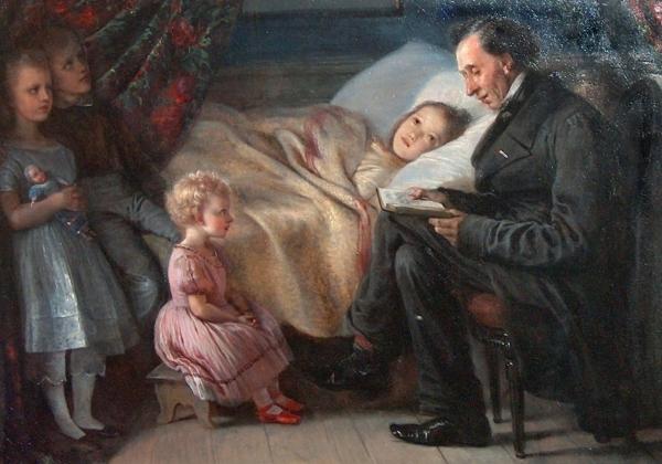 Ганс Христиан Андерсен читает сказку детям