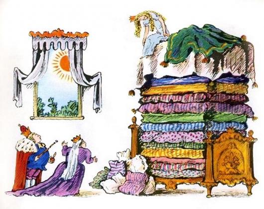 Принцеса на горошине. Сказки Андерсена. Иллюстратор Владимир Конашевич. 1968. СССР