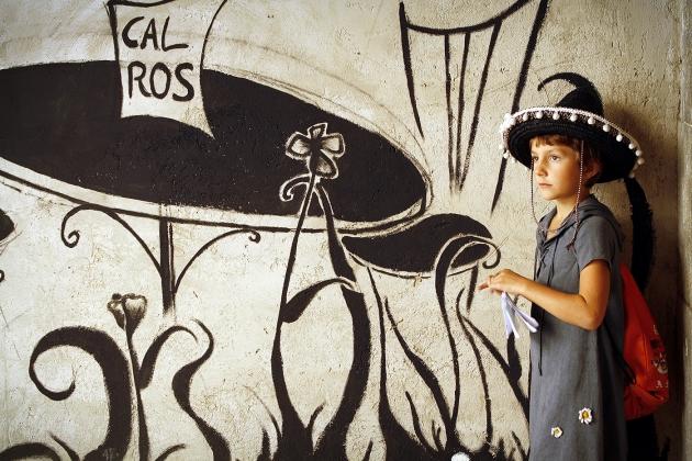 Нарисованное кафе в переулках Жироны