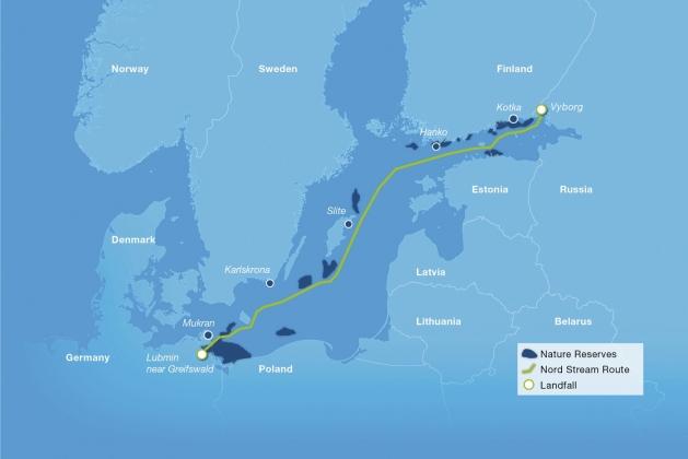 Маршрут газопровода Nord Stream