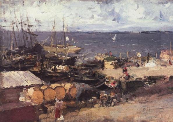 Константин Коровин. Архангельский порт на Двине. 1894