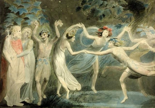Уильям Блейк. Сцена. «Сон в летнюю ночь» (Оберон, Титания и Пак с фей танцы). ок 1825