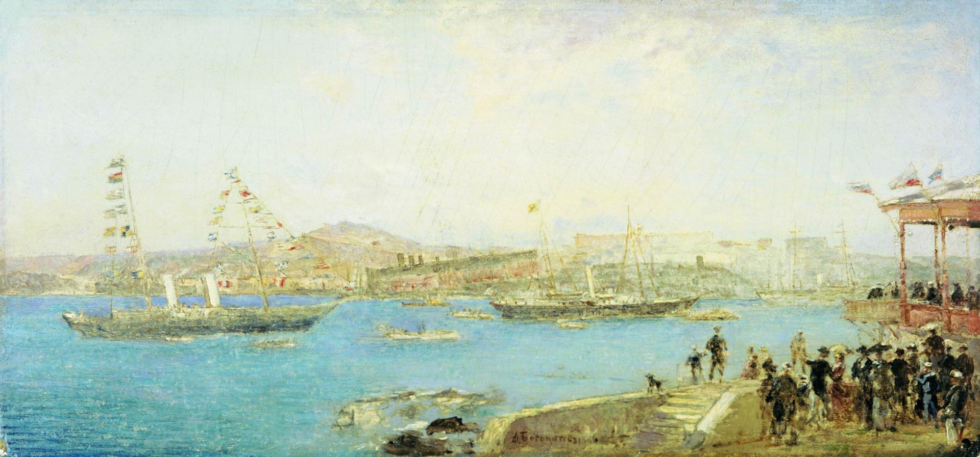 Алексей Боголюбов. Спуск корабля. 1886