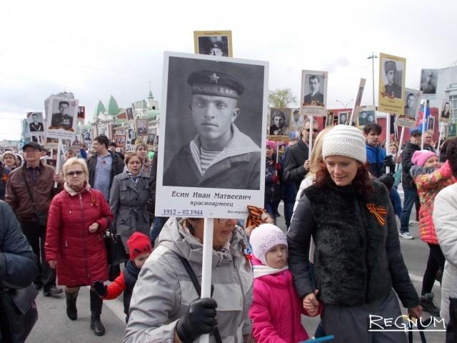 «Бессмертный полк» в Новосибирске в 2017 году собрал тысячи людей