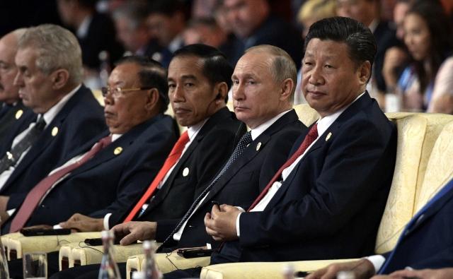 Си Цзиньпин и Владимир Путин. 14 мая 2017