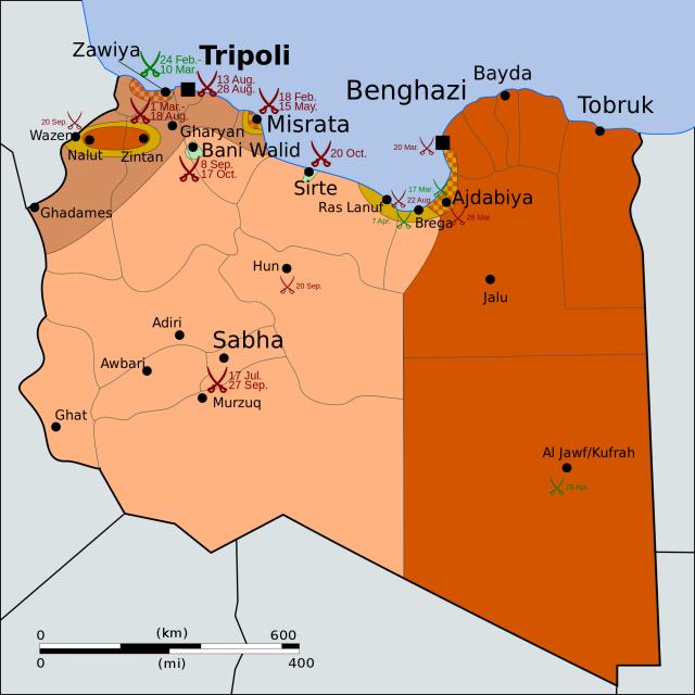 Карта военных действий в Ливии