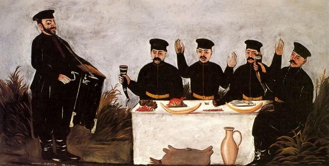 Нико Пиросмани. Кутеж с шарманщиком Датико Земель. 1906