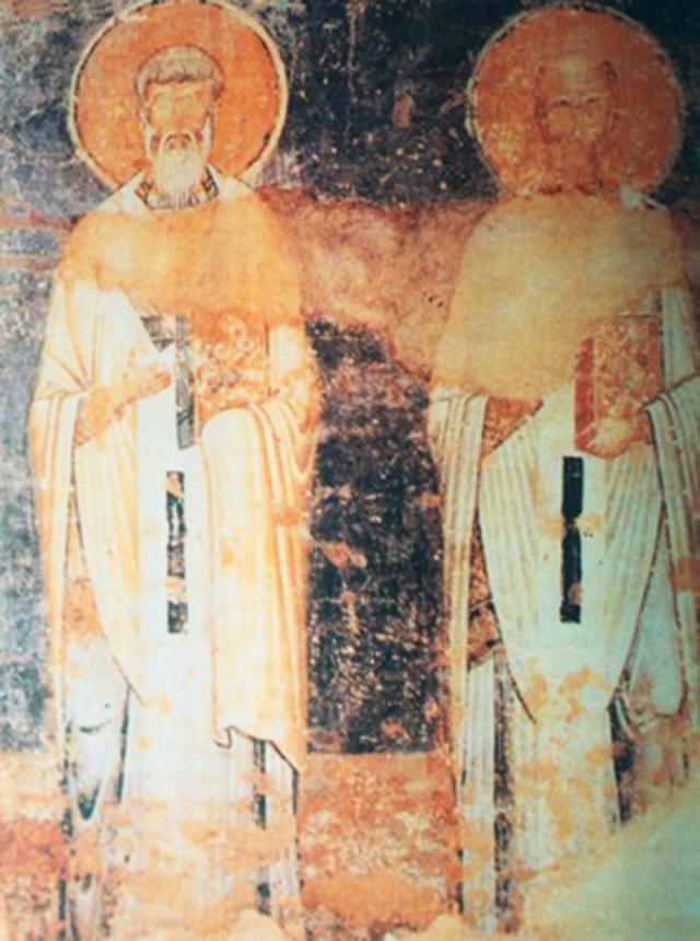 Святые Кирилл и Мефодий. Фреска собора Св. Софии в Охриде (Македония). Около 1045
