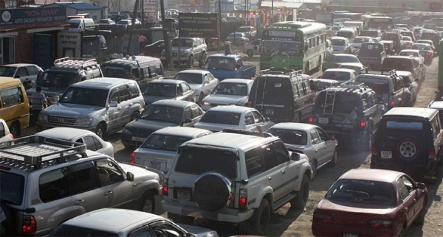 Автомобильная пробка в Улан-Баторе
