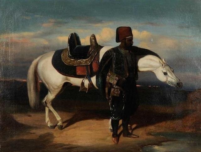 Эжен Делакруа. Турецкий офицер возле арабского жеребца. 1838