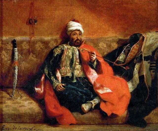 Эжен Делакруа. Турок, курящий на диване. 1834