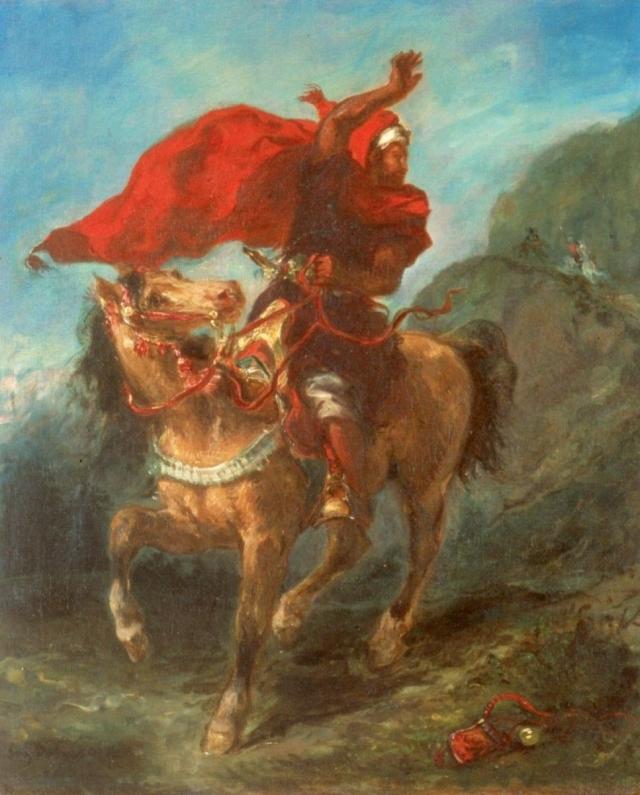 Эжен Делакруа. Арабский всадник подает сигнал. 1851