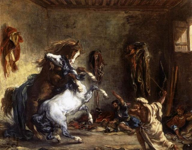 Эжен Делакруа. Схватка арабских лошадей в конюшне. 1860