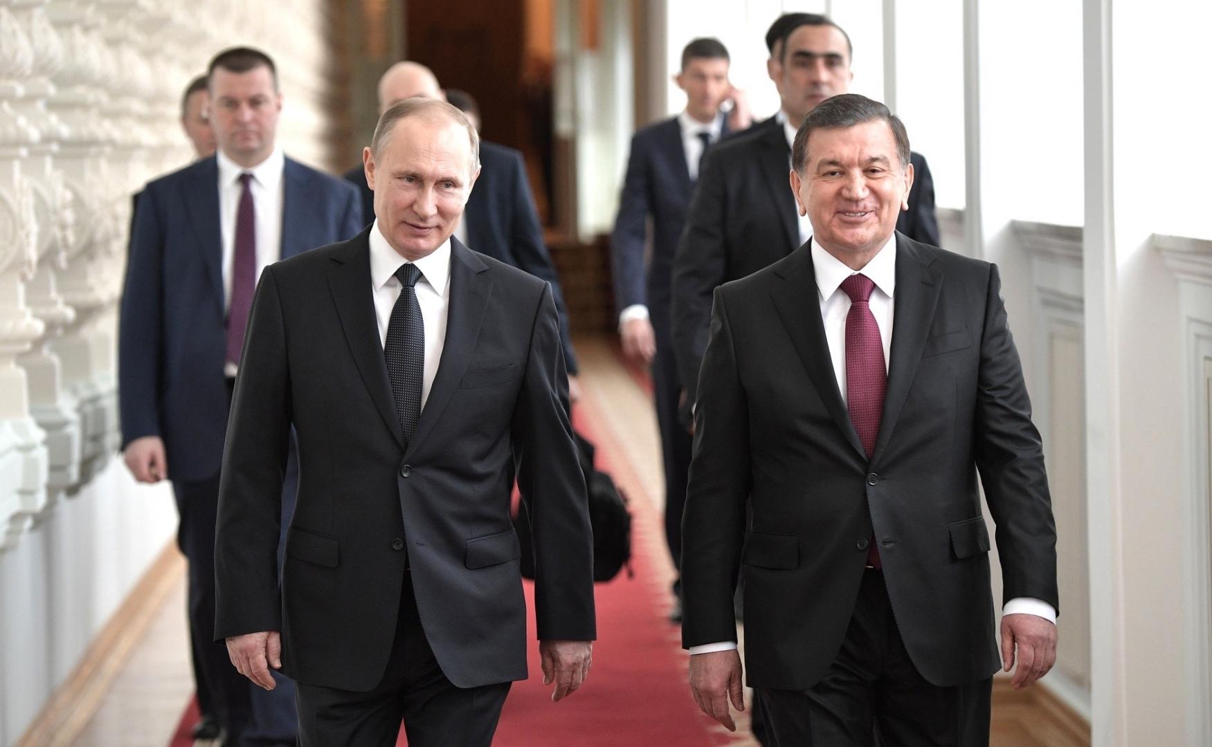 Владимир Путин с Шавкатом Мирзиёевым