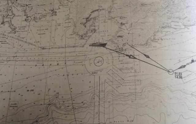Карта с отметкой места трагедии с моряками К-56