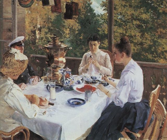 Константин Коровин. За чайным столом. 1888