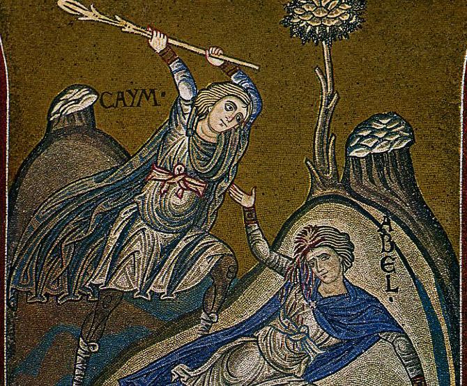 Каин убивает Авеля, мозаика в Монреале, Италия