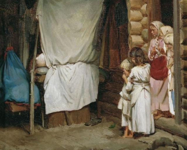 К. В. Лемох.  Новый член семьи. 1880-е