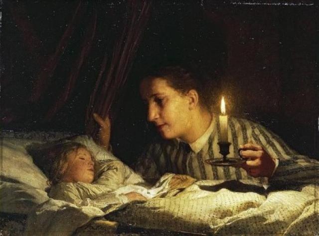 Альберт Анкер. Юная мать у постели спящего ребенка. 1875