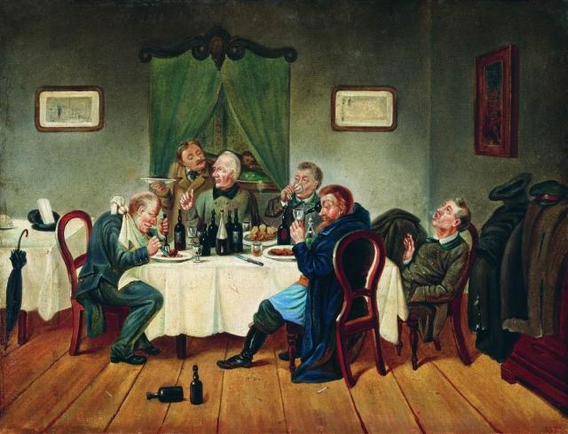 Леонид Соломаткин. Угощение чиновников. 1864