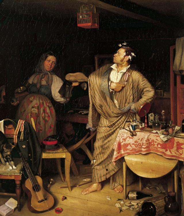 Павел Андреевич Федотов. Свежий кавалер. Утро чиновника, получившего первый крестик. 1846