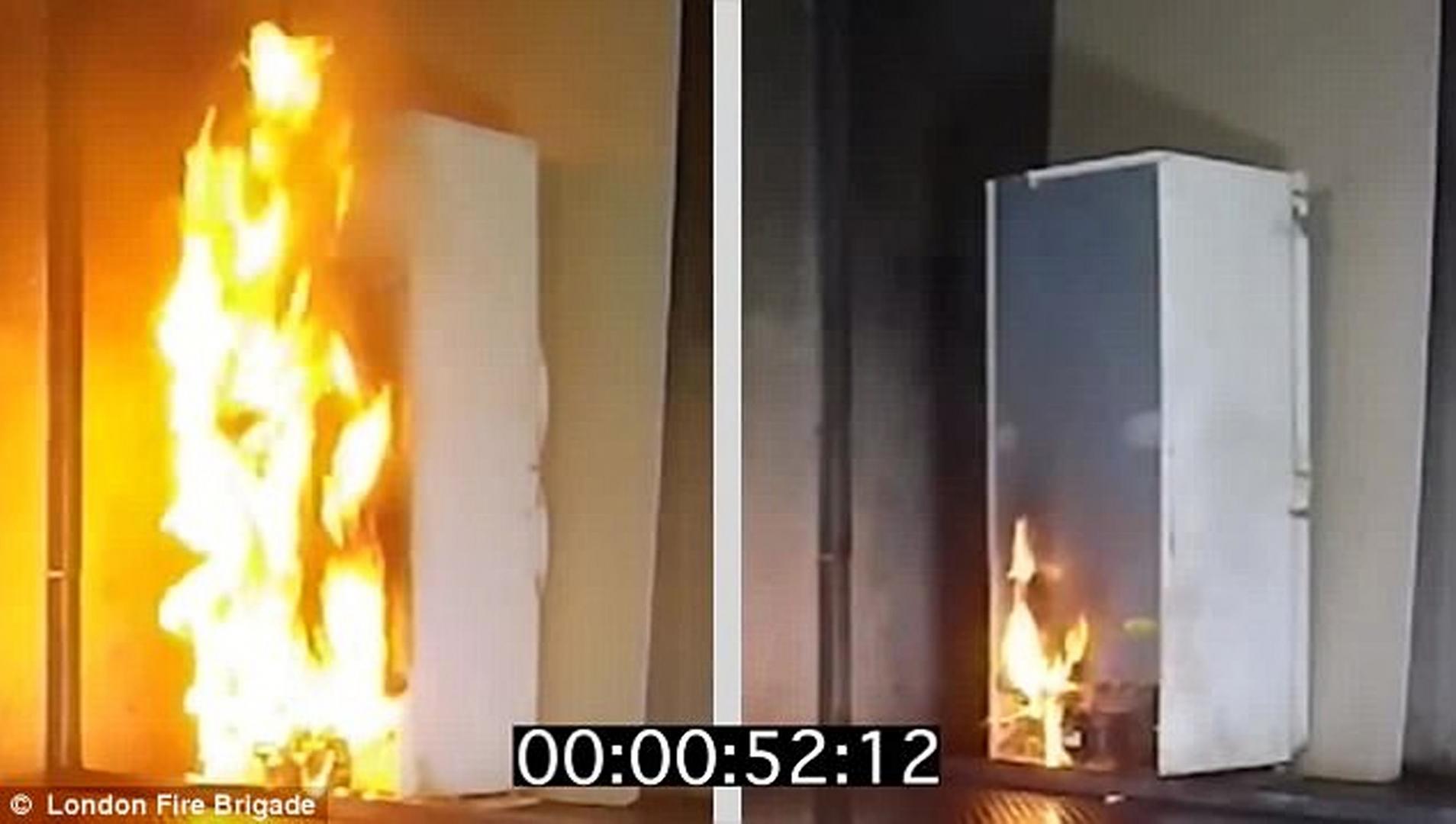 Сравнение горения холодильников Hotpoint с пластмассовым (слева) и металлическим корпусом, проведенное Лондонской пожарной бригадой в феврале 2017 года