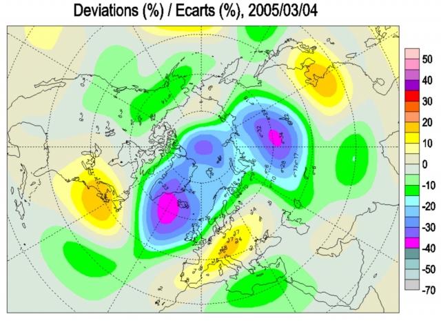 Аномалии поля общего содержания озона (ОСО) в Северном полушарии 4 марта 2005 г