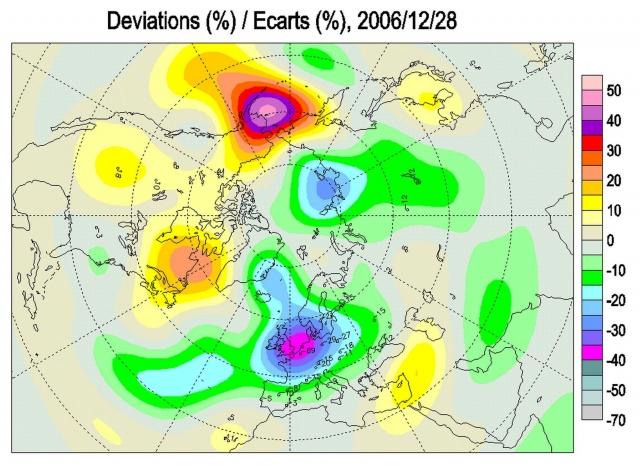 Аномалии поля ОСО в Северном полушарии 28 декабря 2006 г