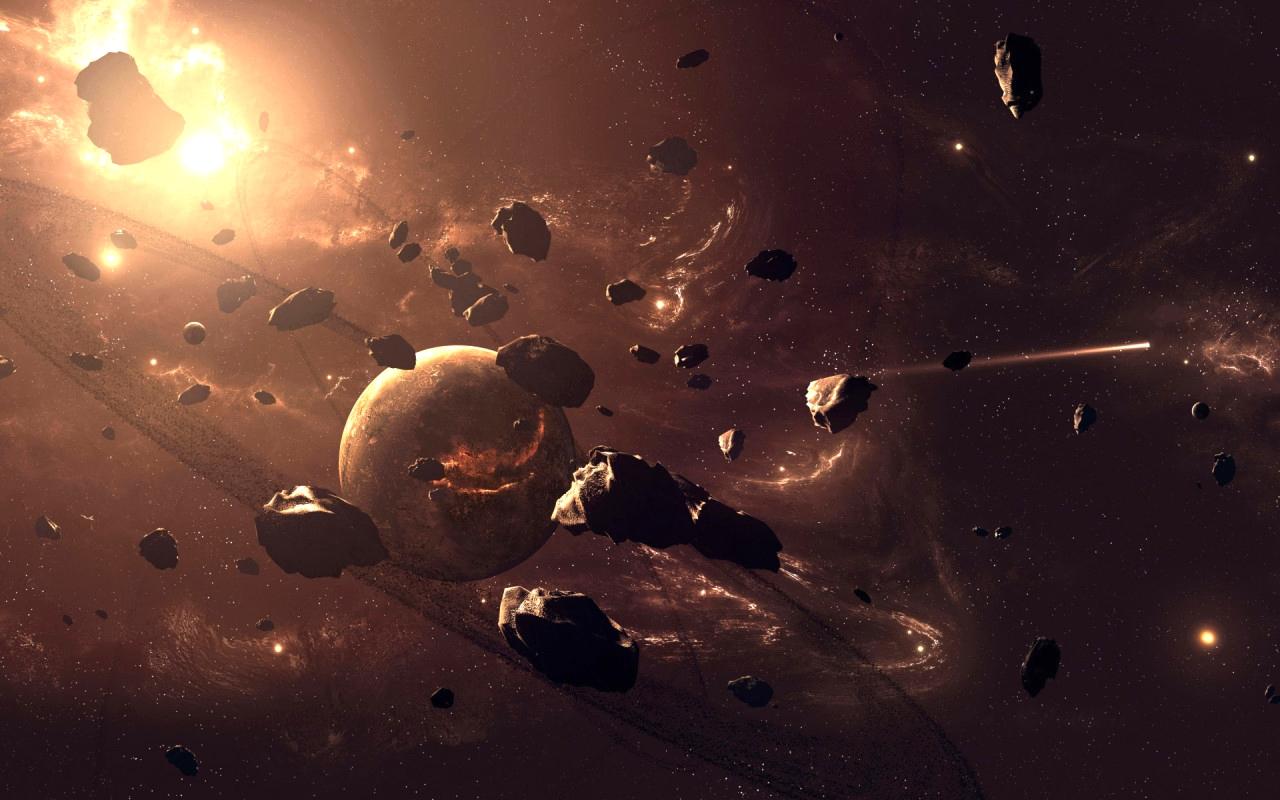 Обои обломки, астероиды, земля. Космос foto 9