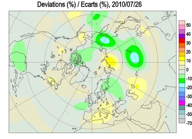 Рис. 1. Аномалии ОСО в Северном полушарии 26 июля 2010 г.
