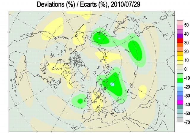 Рис. 2. Аномалии ОСО в Северном полушарии 29 июля 2010 г.