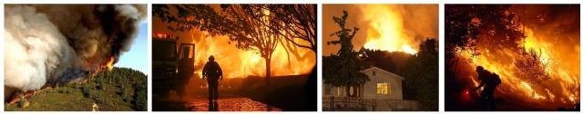 Рис. 22. Пожары в Калифорнии, слева направо: в октябре 2007 г., летом 2009 г., в июле 2010 г