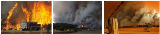 Рис. 23. Лесные пожары в Австралии 07.02.2009: слева — в г. Тонимбук (125 км. западнее Мельбурна, в центре и справа — на территории государственного леса Буньип (Bunyip Sate Forest) рядом с Тонимбуком)