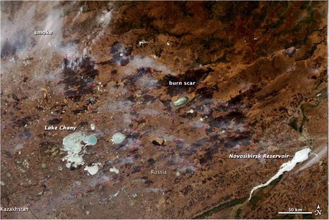 Рис. 27. Природные пожары в Барабинской низменности 14.04.2012.