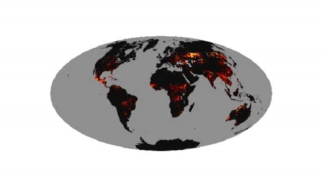 Рис. 29. Мировая карта природных пожаров на апрель 2012 г.
