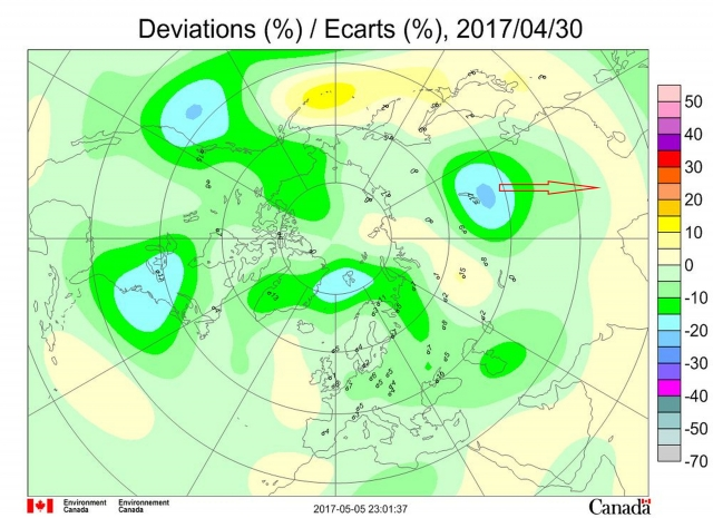Рис. 38. Аномалии поля ОСО в Северном полушарии 30.04.2017. Красной стрелкой показано смещение озоновой дыры в сторону Китая