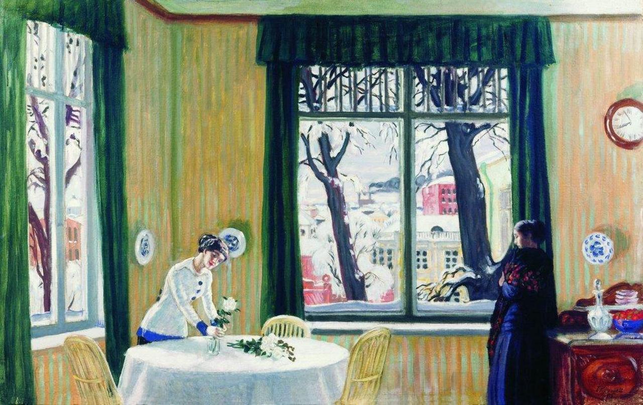 Борис Кустодиев. В комнатах зимой. 1915