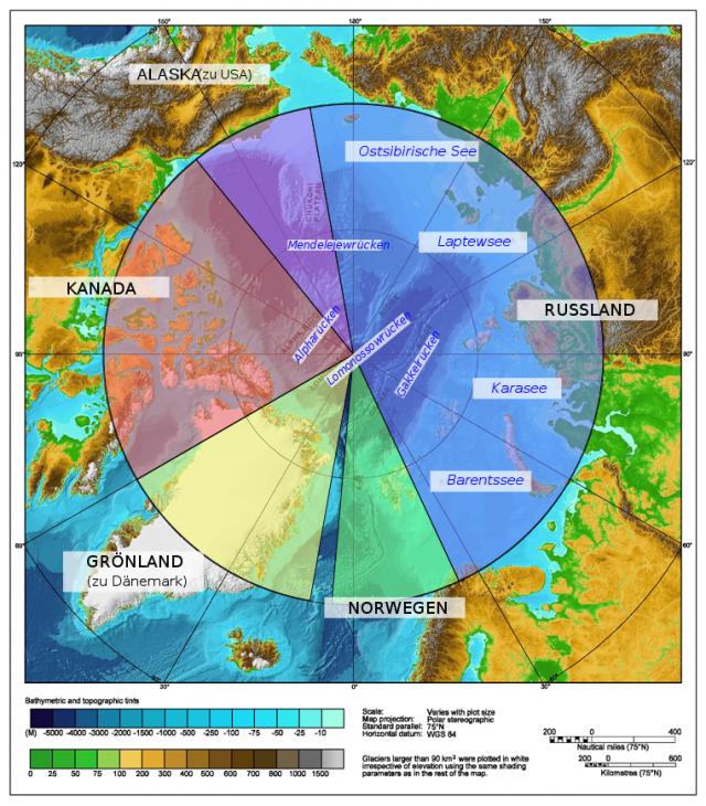 Деление Арктики согласно секторальному подходу
