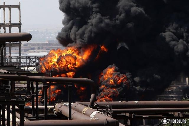 Пожар на химзаводе в Ереване