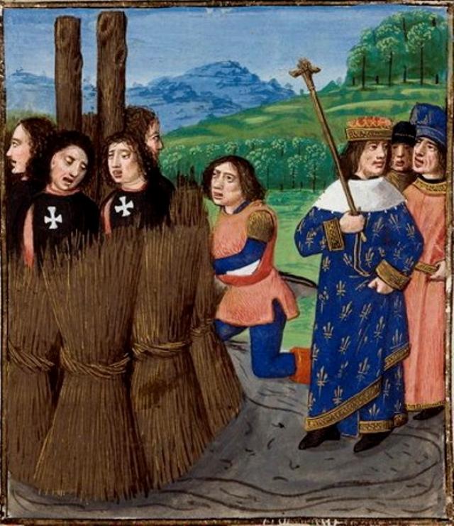 Казнь тамплиеров, фрагмент средневековой миниатюры