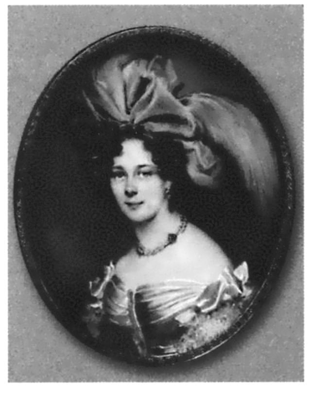 Анна Алексеевна Толстая, мать поэта. Миниатюра работы М. М. Даффингера. 1827