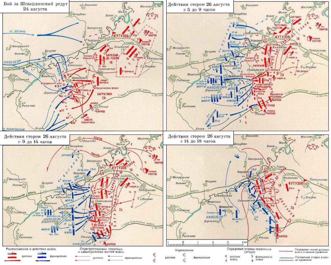 Бородинское сражение 1812 года схемы