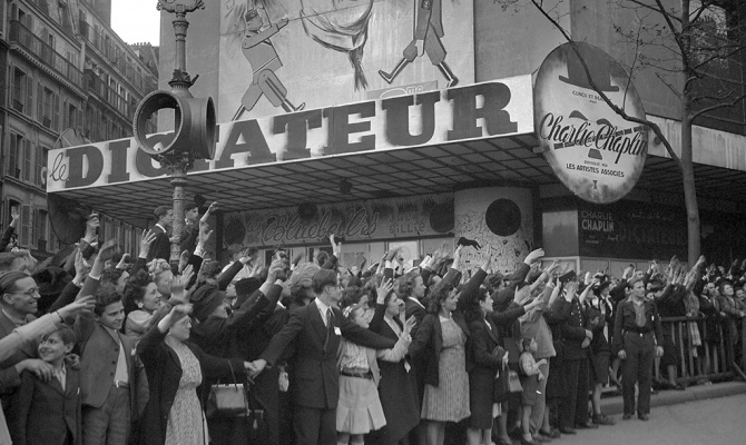 Премьера фильма «Великий диктатор» в Париже в 1945 году