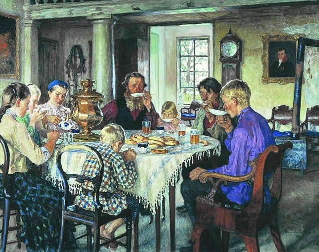 Николай Богданов-Бельский. Новые хозяева. Чаепитие. 1913