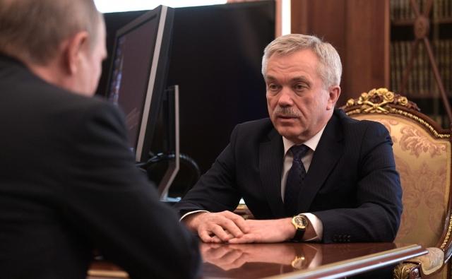 Евгений Савченко в ходе рабочей встречи с Владимиром Путиным. Москва, 19 апреля 2017 года