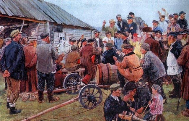 Аркадий Пластов. Выборы членов комитета бедноты. 1940