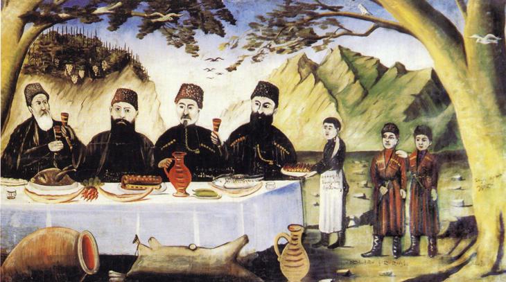 «Ужин владельцев духана», Нико Пиросмани