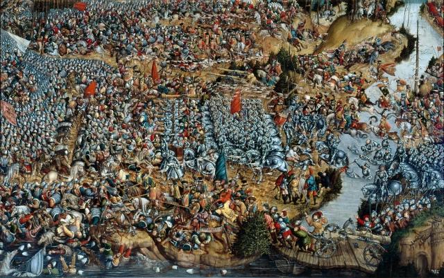 Полотнище «Битва под Оршей 8 сентября 1514 года», Интересно, на полотнище изображен не бело-красный-флаг, а красный крест на белом фоне в форме треугольника, что по мнению свядомых историков одно и тоже. Вместе с тем, судя по изображению видно, что основными прапорами белорусских войск были красные